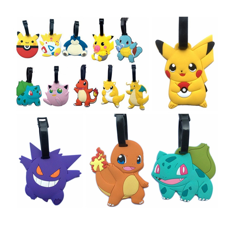 New Fashion Suitcase Pikachu Pokemon Luggage Tags Cute ID Address Holder Mermaid Luggage Label Travel Accessories Bag Tag