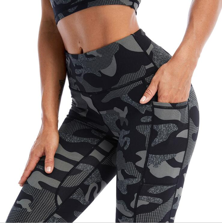 Women Camo Printed Yoga Leggings Pant Pocket Stretchy Gym Tights Women Running Trousers Workout Fitness Sportswear Sport9s
