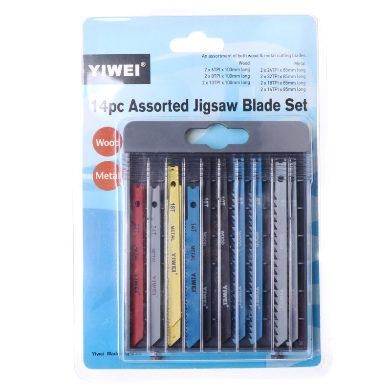 Drop Wholesale 14Pcs/set Jigsaw Blades Set T Shank Fitting Jig Saw Metal Plastic Wood Blades With Retail Package Ping Support