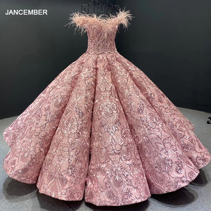 Image 1 - J66661 JANCEMBER Party Long Evening Dresses 2020 Sweetheart Off Shoulder Embroidery Feathers Womans Dress