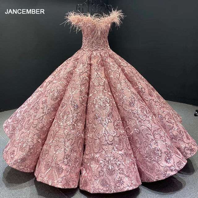 J66661 JANCEMBER Party Long Evening Dresses 2020 Sweetheart Off Shoulder Embroidery Feathers Womans Dress