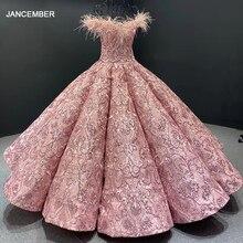 J66661 JANCEMBER parti uzun abiye 2020 sevgiliye kapalı omuz nakış tüyleri kadın elbise