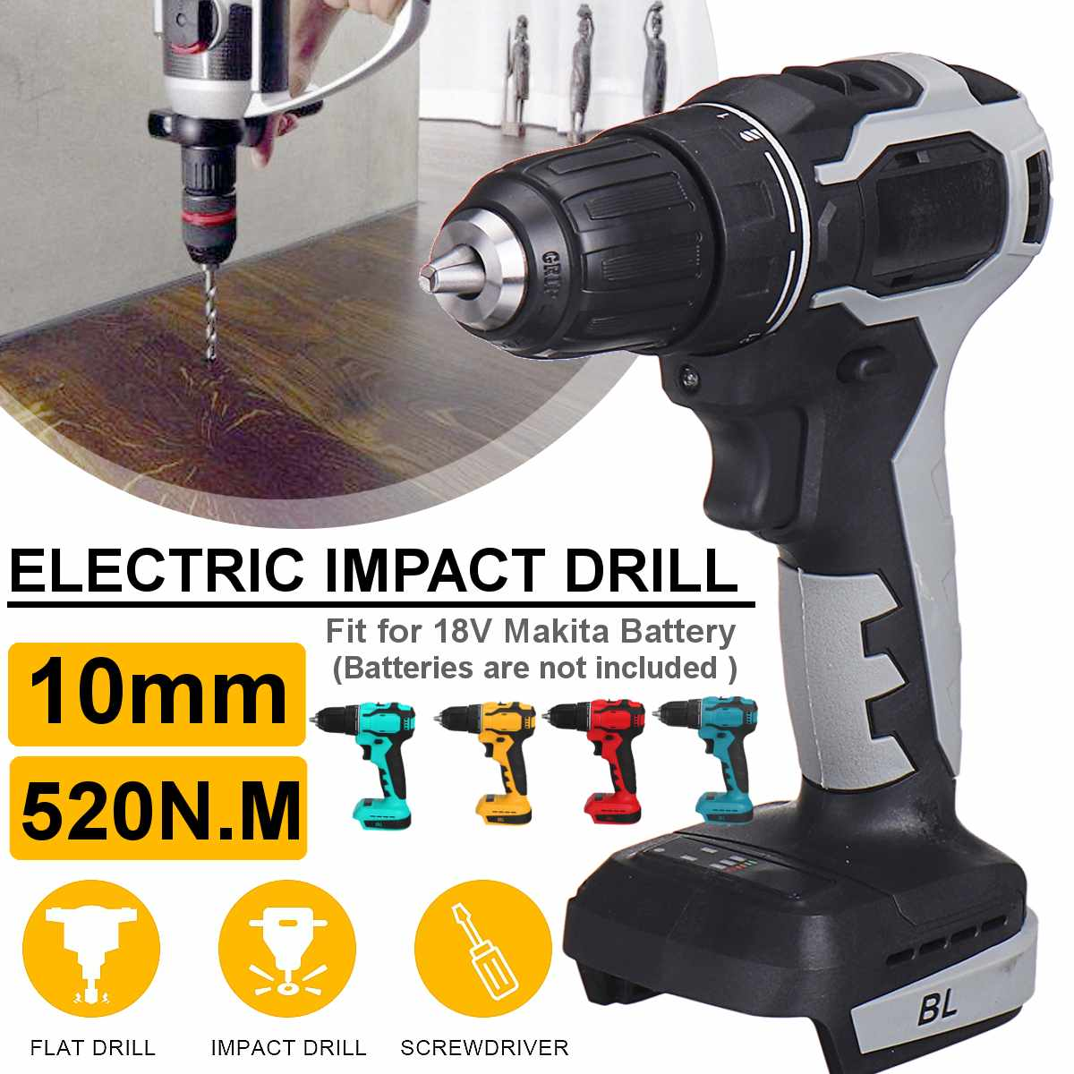 4000rpm 600W Electric Drill 520N m Cordless Impact Drill Driver Replacement 10mm Chuck for 18V Makita Battery