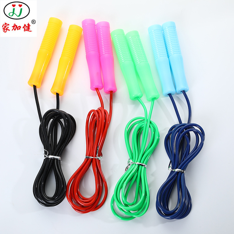 Hollow Plastic Handle Rubber Jump Rope Candy-Colored Students Sports Fitness Adjustable Jump Rope