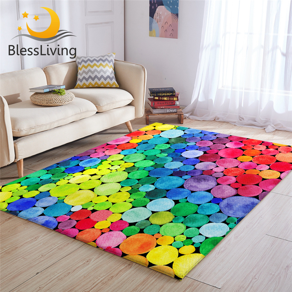 BeddingOutlet Colorful Large Carpets For Living Room Rainbow Circles Floor Mat Watercolor Non-slip Area Rug 152x244cm Dropship