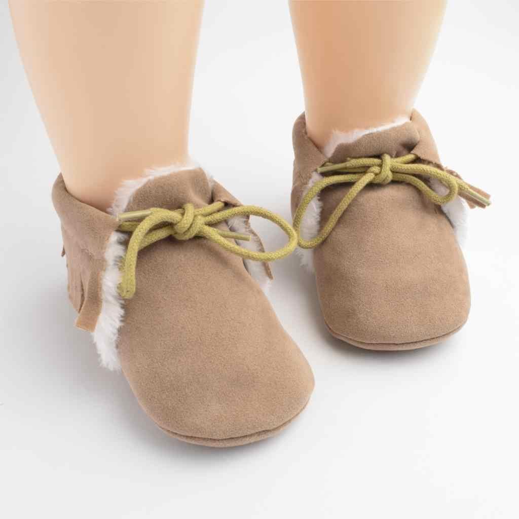 Baby Girl First Walkers mocasines de bebé suave suela antideslizante calzado con flecos para niños pequeños zapatos de cuna zapatos de cuero de gamuza PU