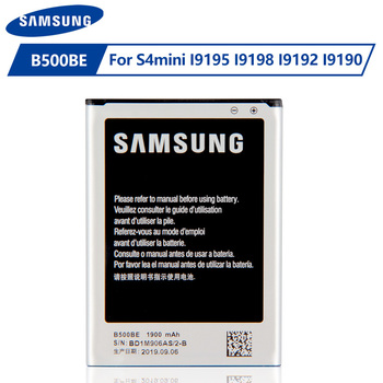 Original Samsung Battery B500BE B500AE For Samsung GALAXY S4 Mini I9190 I9192 I9195 I9198 S4Mini Battery 3 pins 1900mAh s style protective tpu back case for samsung galaxy s4 mini i9190 translucent white