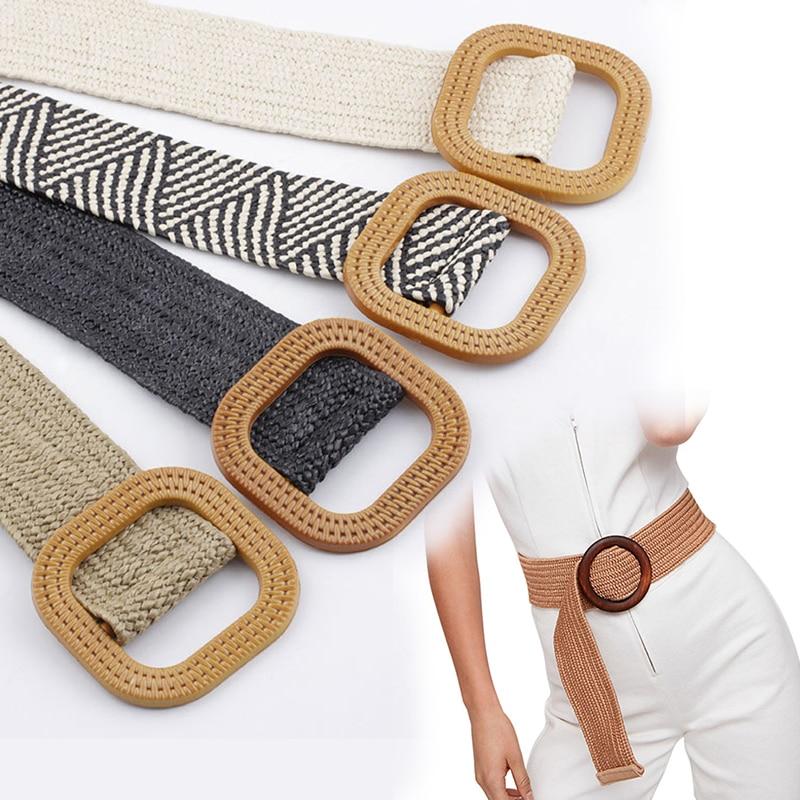 Wooden Braided Belt Ladies Casual Summer Decorate Dress Belt High Quality Waist Woven Cummerbund Elastic Woman Belt Waistband