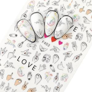 Nail Sticker 3D Nails Slider Decals Gesture Love Design Nail Art Decoration Manicure Adhesive Foil Wraps Pegatinas