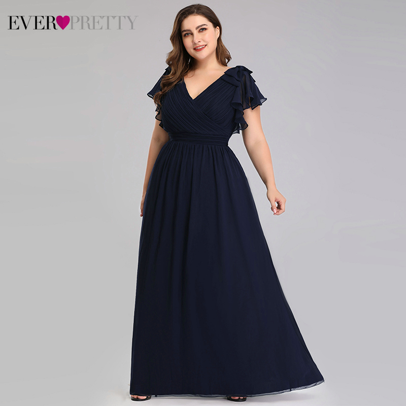Plus Size Evening Dresses Ever Pretty A-Line V-Neck Bow Short Sleeve Elegant Navy Blue Formal Party Gowns Vestido Noche Elegante