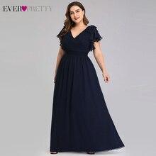 Vestidos de talla grande para mujer, Vestido de Noche con corte en A, escote en V, manga corta, Elegante, azul marino, Formal, para fiesta, Elegante