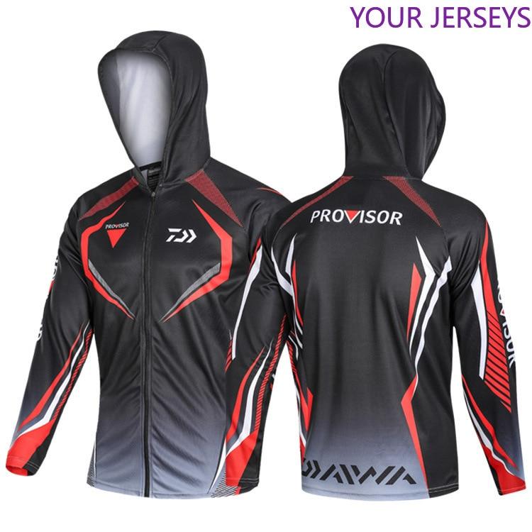 2020  Outdoor Sport Shirt Fishing Clothing Men Fishing Shirts Long Sleeve Breathable Quick Dry Coat Hooded Fishing Clothes DAIWA