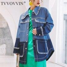 Tvvovvin-строчка контрастного цвета с длинными рукавами окантовка неправильная свободная ветровка Женская Повседневная мода Осень новинка F046