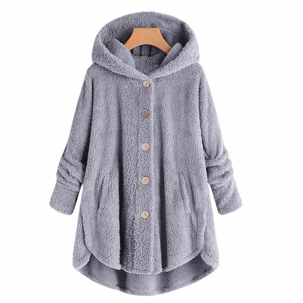 Wanita Mewah Mantel Plus Ukuran Tombol Mewah Atasan Bertudung Longgar Cardigan Mantel Wol Musim Dingin Tetap Hangat Jaket