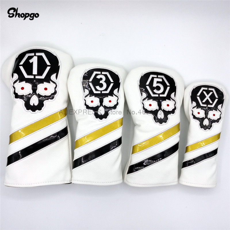 [2 Colors] Golf Skull Headcovers Golf Driver Fairway Woods Hybrid Covers 135X 4pcs/lot Waterproof PU Novelty Gift