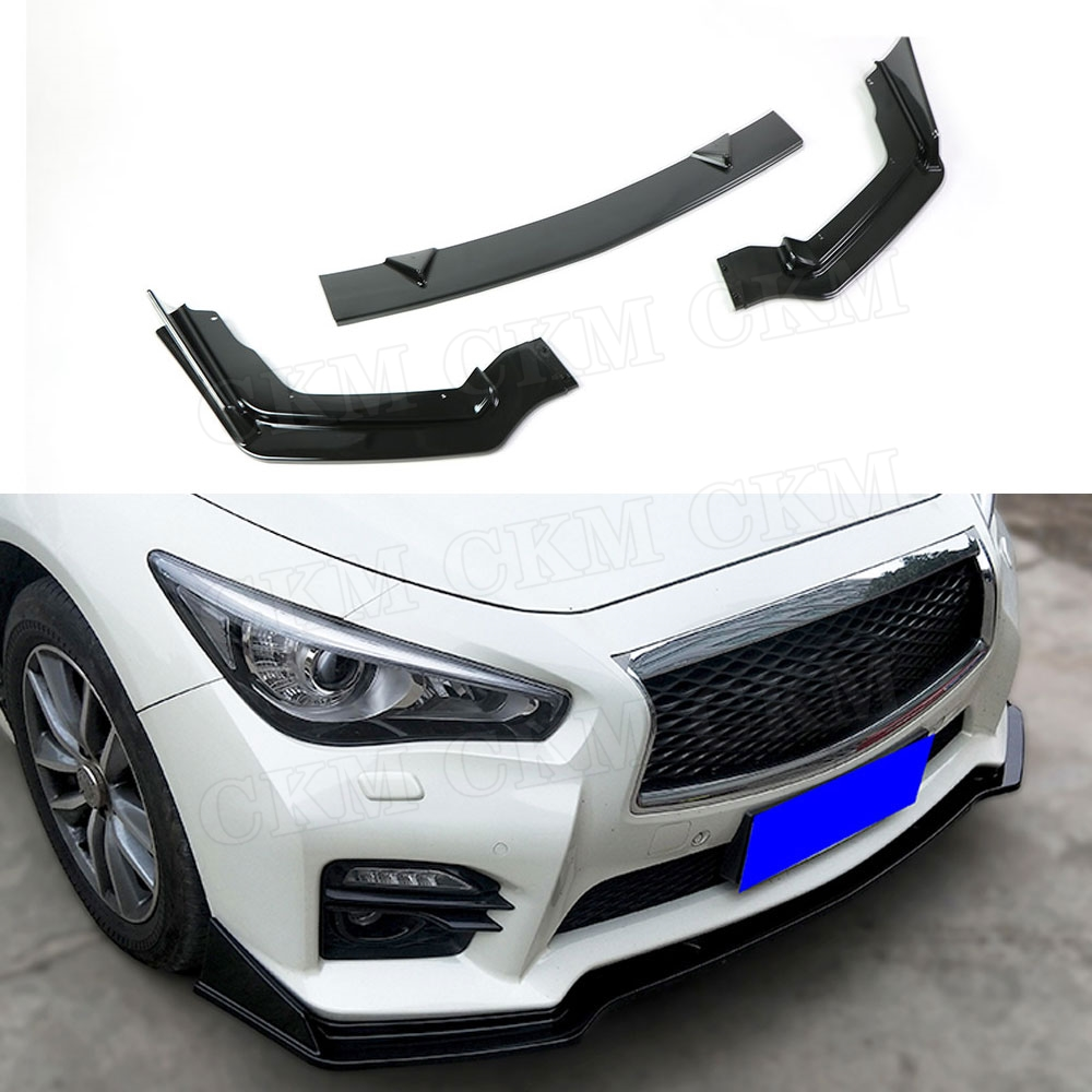 3 PCS ABS Black Front Lip Spoiler Splitters Flaps For Infiniti Q50 Q50S 2014-2017 Head Bumper Chin Crash Guard Car Styling
