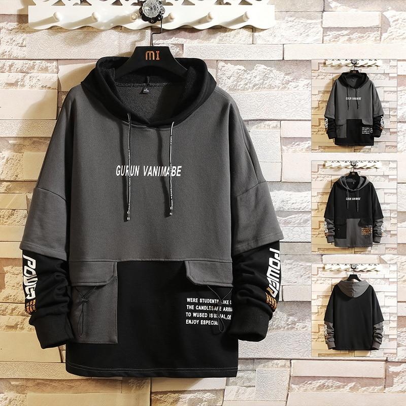 Japan Style Casual O-Neck 2020 Spring Autumn Print Hoodie Sweatshirt Men'S Thick Fleece Hip Hop High Streetwear Clothes