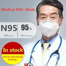 60PCS CE Medizinische Gesicht Maske N95 Atemschutz Maske s Schutz Maske 95% Filtration Atmen Gesicht Maske