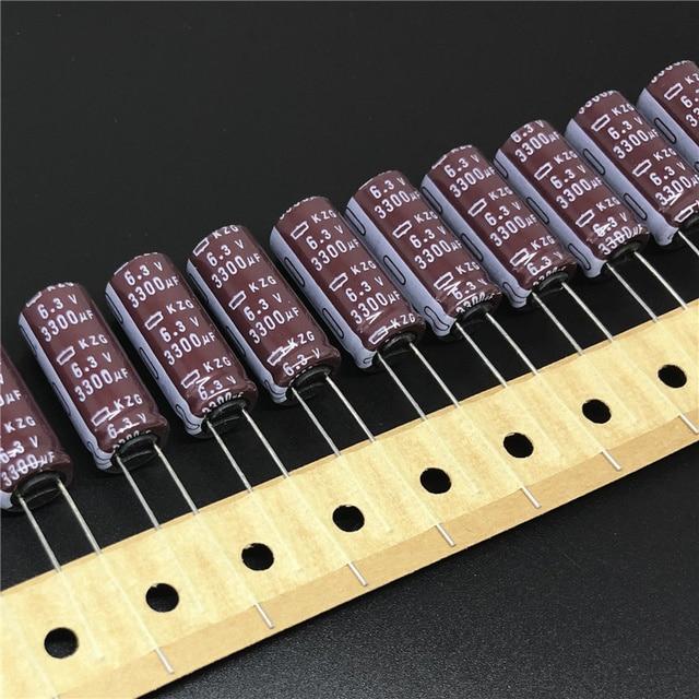 10pcs 3300 UF 6.3V Nippon Chemi Con NCC KZG Series 10x25 มม.Super LOW ESR 6.3V3300uF ตัวเก็บประจุอลูมิเนียมอิเล็กโทรลีติค