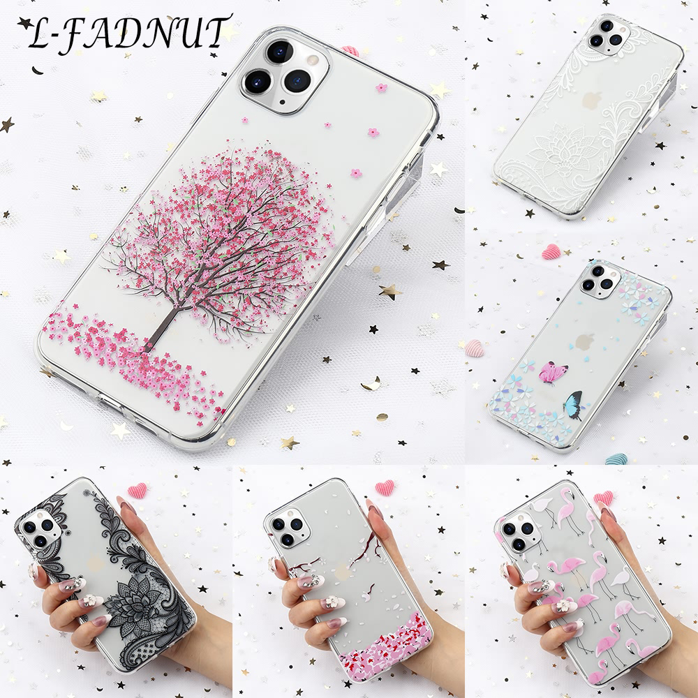 L-FADNUT Clear Girls Cute Case For iPhone 11 Pro 7 Plus 8 6S 6 X Xr Xs Max 5S SE Transparent Soft Shockproof Fitted Cover Coque