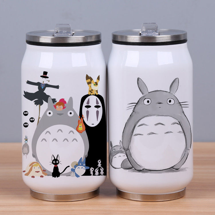 300/450ml Totoro Cat Cans Water Bottle Stainless Steel with Straw
