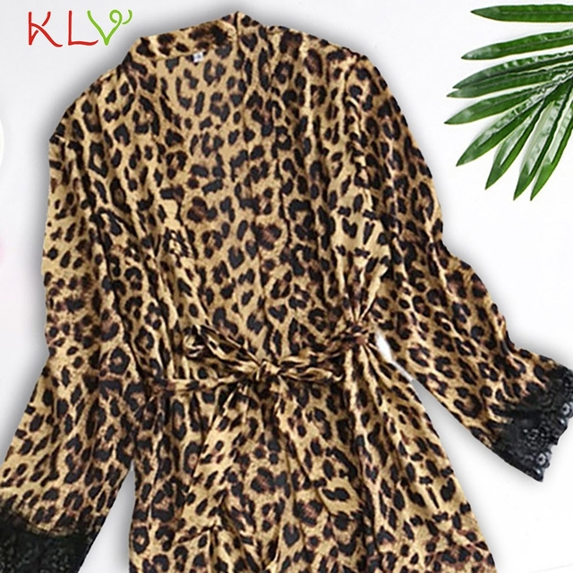 Satin Silk Robes for Women Leopard Print Sexy Robe Femme Bathrobe Sleepwear Long Sleeve Kimono Bata Mujer Gowns Underwear 20Jan