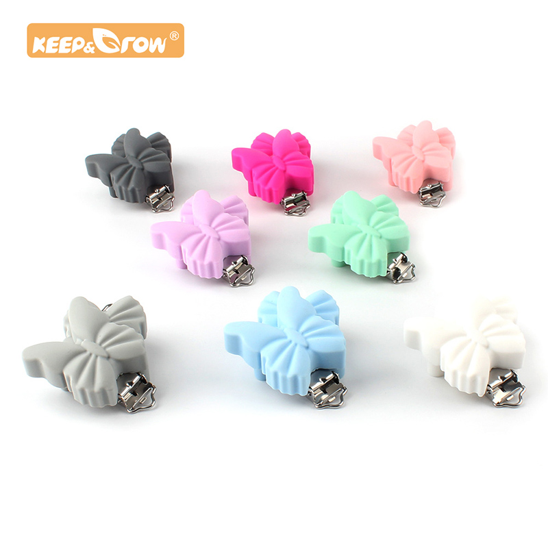 Keep&Grow1pc Butterfly Silicone Teether Metal Clip Pacifier Silicone Rodent Accessories DIY Baby Teething Necklace Pendant Clamp