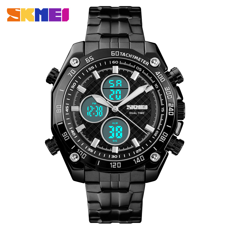 <font><b>SKMEI</b></font> Men Luxury Business Watchs Quartz black Watch Dual Time Fashion Waterproof Stopwatch Military Watch Relogio Masculino <font><b>1302</b></font> image