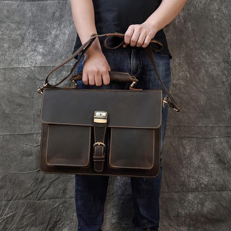H524ef74f921d4897a967c8b9d12d3094I MAHEU Luxury Fashion 100% Genuine Leather Men Briefcase Cow Leather Laptop Bag Vintage Shoulder Bag Real Cowhide Computer Bag