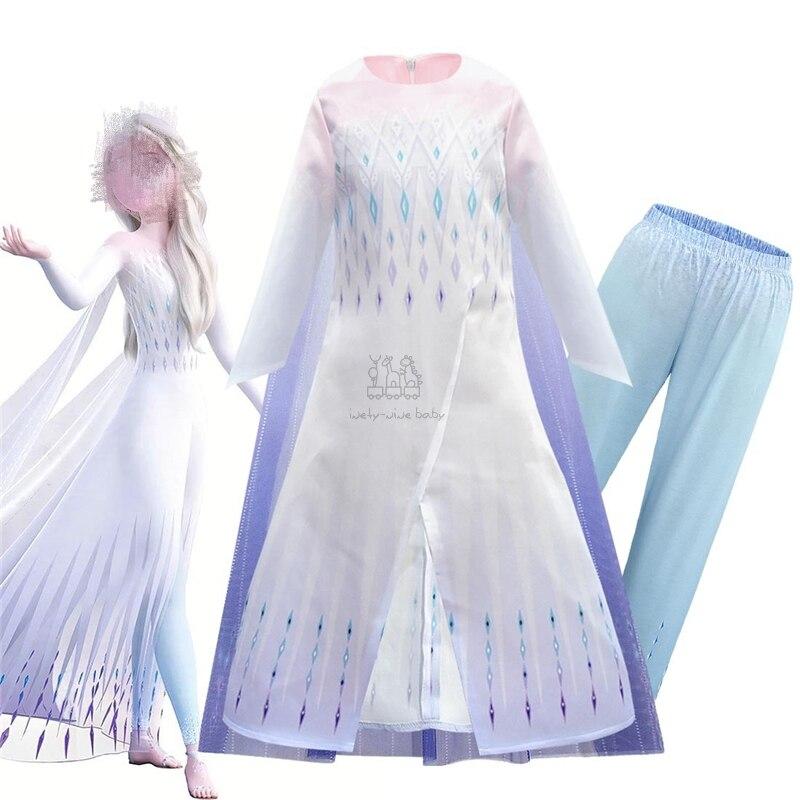 Snow Queen Frozen 2 White Girls Anna Elsa Dress Halloween Costume Child Christmas Elza Children Gowns Cosplay Kids Holiday Dress