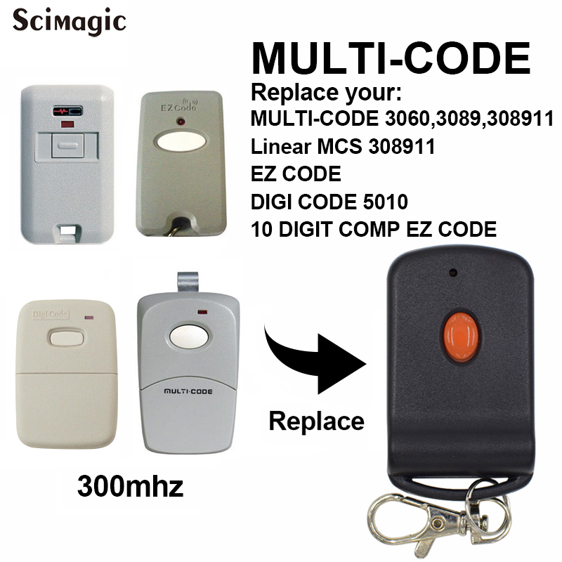 3089 Multi-Code 1 Button Garage Door Remote Transmitter w// Instructions 300mhz