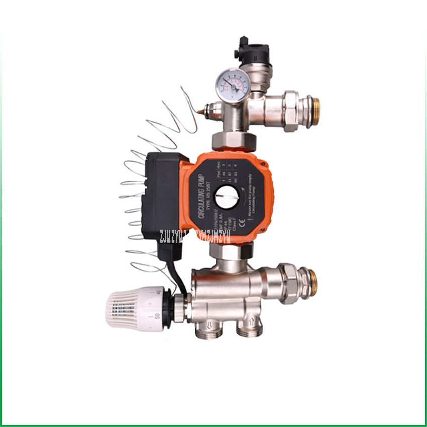JD-HSZX0052 DN25 Brass Floor Heating Manifold Mixing Valve Terrestrial Heat Temperature Control Center Water Mixing System