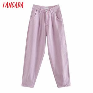 Tangada Mom Jeans Pants Long-Trousers Loose Violet Zipper Female Casual Chic 4M108 Pockets