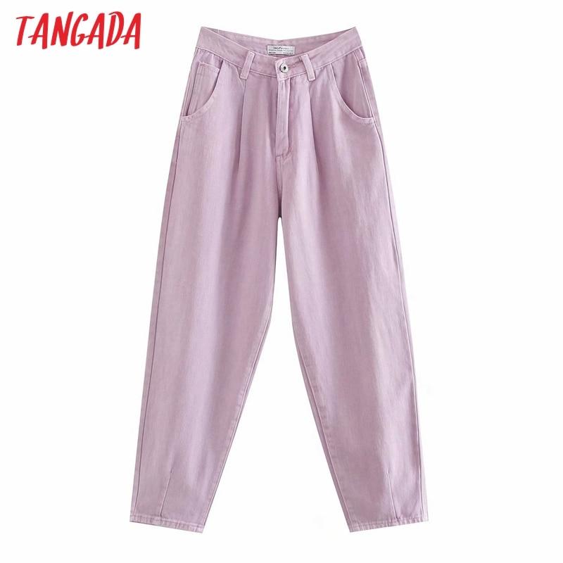 Tangada mujeres violeta mamá, elegante pantalones vaqueros 2020 nueva llegada pantalones largos bolsillos cremallera suelta casual mujer pantalones vaqueros 4M108