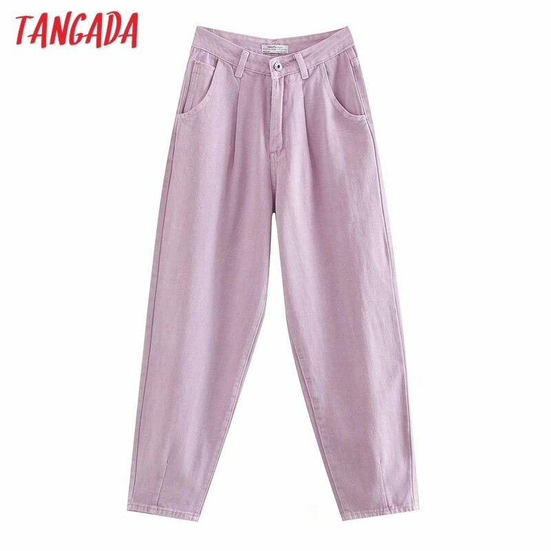 Tangada Women Violet Chic Mom Jeans Pants 2020 New Arrival Long Trousers Pockets Zipper Loose Casual Female Denim Pants 4M108