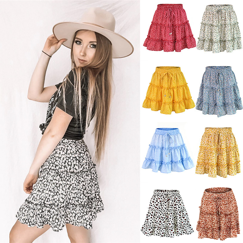 Women Beach Floral Skirt Ladies Dot Summer Above Knee High Waist Lace Up Casual Fashion Skirts