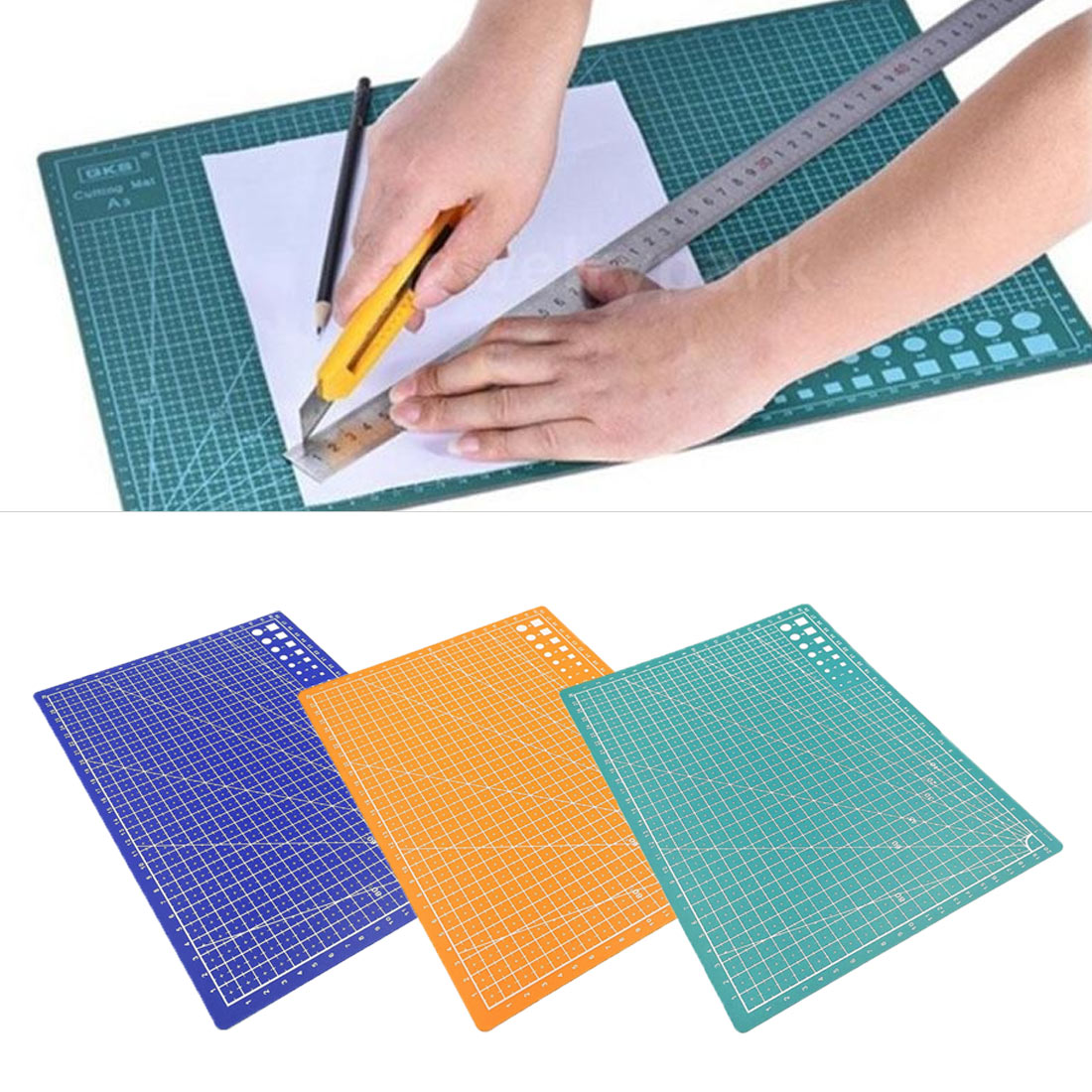 1PC A4 Grid Line Self-healing Cutting Pad Craft Card Cloth Leather Cardboard Sewing Tool PP Cutting Mat Pad Patchwork Cut Pad