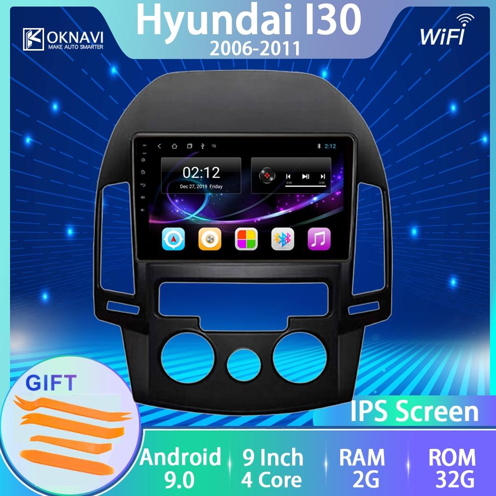 Para hyundai-h i30 rádio do carro 2006 2007 2008 2009 2010 2011 android 9.0 não 2 din player multimídia tela de toque ips bt navitel igo