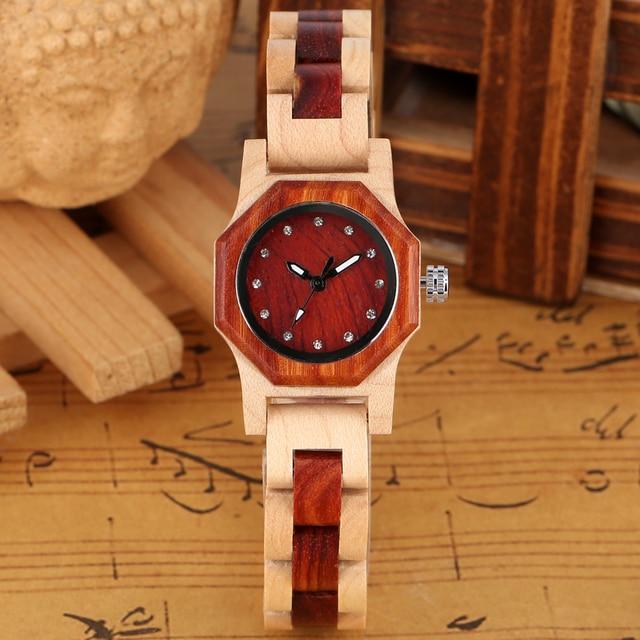 Elegant Rhinestones Octagon Shape Watch Wood Watch Women Clock Full Wooden Chic Bangle Dress Watch Top Luxury Relogio Feminino