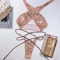 Halter kobiety stroje kąpielowe bikini Set Push Up strój kąpielowy skóra drukowane strój kąpielowy dla dziewczynek Banadores Mujer stringi kąpielowy Femme 2