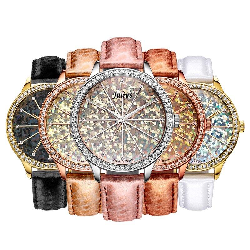 Bling julius senhora relógio feminino grande moda horas vestido pulseira brilhante escala de couro real da menina da escola aniversário presente nenhuma caixa