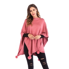 Women Cloak Long Sleeve Pullover Casual Tassel Hairball Loose Shawl Cardigan Sweater Top Autumn Dames Kleding Bat Sleeved Mantle