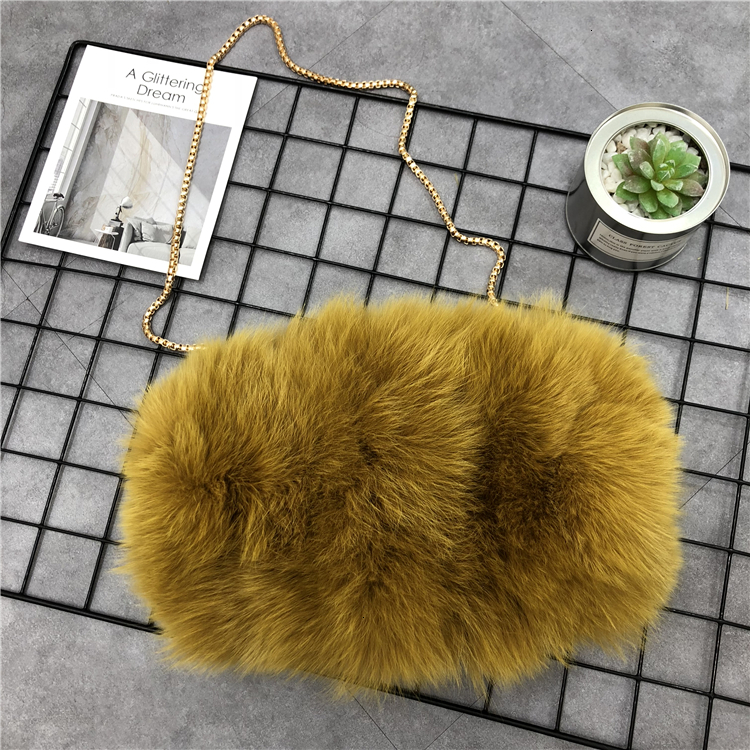 pele de raposa bolsa feminina de luxo