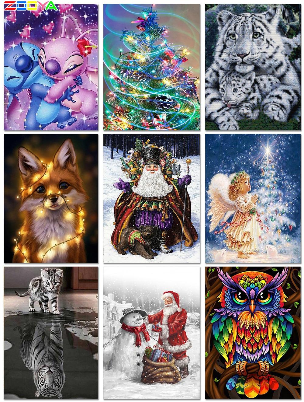 5D Diamond Painting Full Square/Round Christmas Diamond Embroidery Landscape Sleigh Elk Diamond Mosaic Santa Sled Gift Jh048