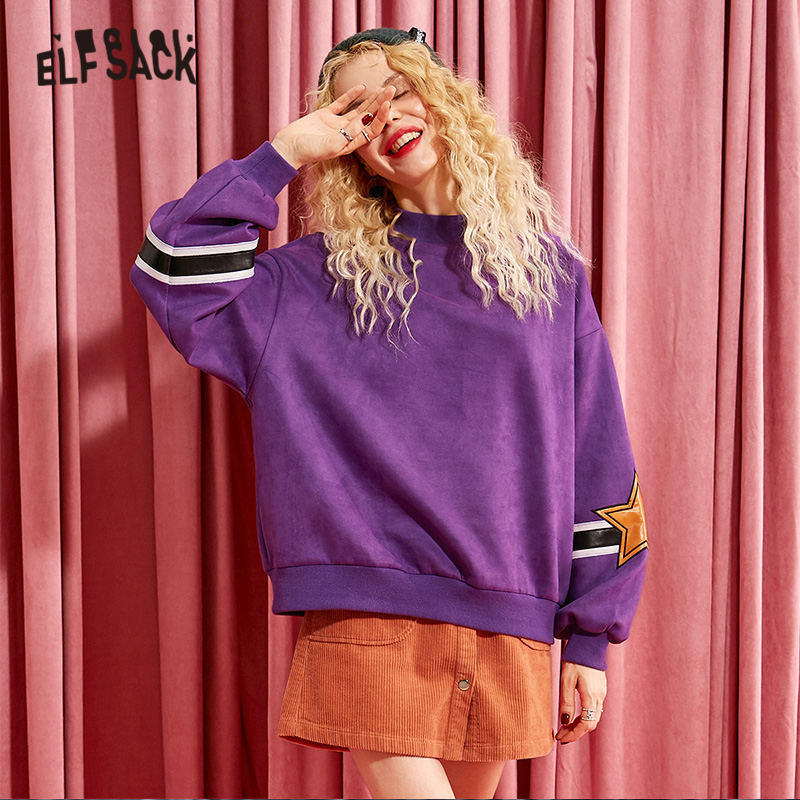 ELFSACK Purple Solid Leather Applique Women Pullover Women Sweatshirts 2019 Winter Colorblock Lantern Sleeve Casual Female Tops