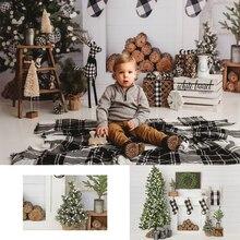 Christmas Wood wall Backdrop Christmas Tree Fireplace Wreath Photography Backdrops White wood Parrty Socks Background Photobooth