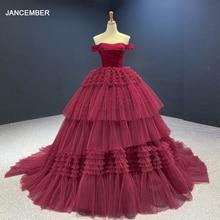 J67120 JANCEMBER Vestido De Festa Noble Wine Red Sexy BacklesS Ball-Gown Evening Dresses 2020 Off The Shoulder вечерние платья цена 2017