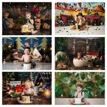 Crianças 1st bolo de aniversário esmagar fotografia pano de fundo para estúdio foto selva bebê recém-nascido selvagem um retrato fundo adereços