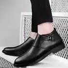 Mannen Chelsea laarzen Lederen Slip on Man Woestijn Laarzen outdoor Pluche bont warme Mannen winter sneeuw martins schoenen enkellaarsjes o4