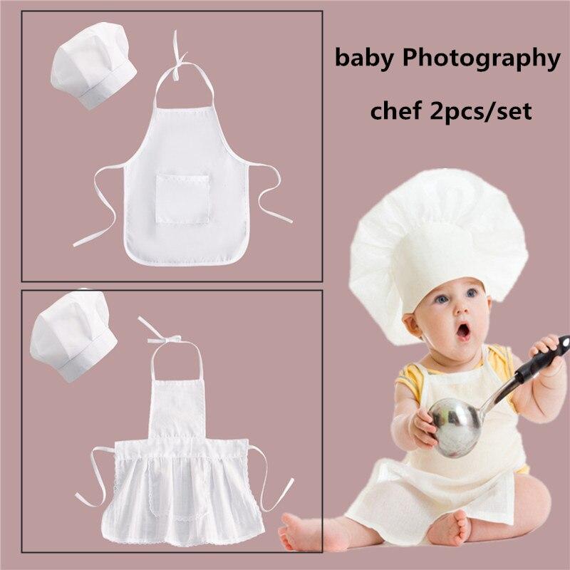 2 adet/takım bebek şef şapkası seti fotoğraf genç önlük çocuk pişirme araçları kız erkek mutfak aksesuarları